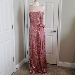 New Tadashi Shoji Mesh and Sequinned Evening Gown